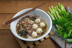 Geschmackvolle Schweinefleischnudeln Thailand Lizenzfreie Stockbilder