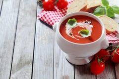 Geschmackvolle Tomatensuppe mit frischem Basilikum und Creme Lizenzfreies Stockbild