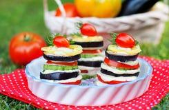 Geschmackvoller Aperitif des gegrillten Gemüses Stockfoto
