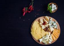 Geschmackvoller Aperitif Platte des Käses Stockfotografie