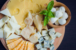 Geschmackvoller Aperitif Platte des Käses Lizenzfreie Stockfotografie