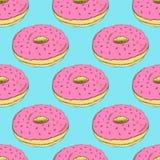 Geschmackvoller Donut der Skizze in der Weinleseart Lizenzfreies Stockbild