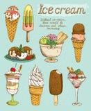 Geschmackvoller Eiscremesatz Stockfoto