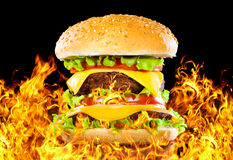 Geschmackvoller Hamburger auf Feuer auf einer Dunkelheit stockbild