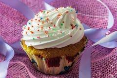 Geschmackvoller Muffinkuchen mit der Proteincreme, verziert mit bunten Süßigkeiten besprüht Lizenzfreie Stockfotografie