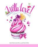 Geschmackvoller Nachtisch des Aquarells Glückwunschkarte mit angenehmen Wörtern Ursprüngliche Hand gezeichnete Illustration Süße  stock abbildung