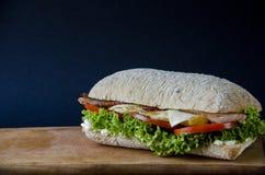Geschmackvoller panini Burger mit Speck, Käse, Salat und Hühnerfleisch auf einer hölzernen Plattform auf einem Hintergrund des bl stockbilder