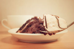 Geschmackvoller Schokoladenkuchen auf einer Platte Stockbilder