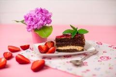 Geschmackvoller Schokoladenkuchen mit Beeren auf Tabellenabschluß oben, Schokoladen-Kuchen, Schokolade Lizenzfreie Stockbilder