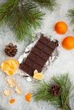 Geschmackvoller Schokoriegel mit Mandarinen auf einem schneebedeckten Hintergrund Stockbilder