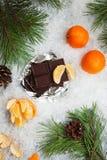 Geschmackvoller Schokoriegel mit Mandarinen auf einem schneebedeckten Hintergrund Stockfotografie