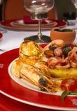 Geschmackvoller Teller von den Seeprodukten an der Gaststätte Lizenzfreie Stockfotografie