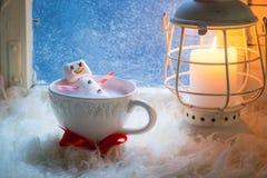 Geschmackvoller und süßer Schneemann gemacht von den Eibischen für Weihnachten lizenzfreie stockbilder