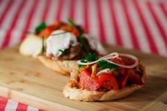 Geschmackvolles bruschetta mit Tomate und Zwiebel Lizenzfreie Stockbilder
