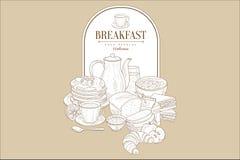 Geschmackvolles Frühstück und Rahmen mit Platz für Text Pfannkuchen, Tee, Saft, Brot, Hörnchen, Brei, Zitrone, Apfel weinlese lizenzfreie abbildung