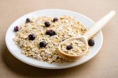 Geschmackvolles gesundes und diätetisches Frühstück: selbst gemachtes Hafermehl mit Schwarzem stockfotografie