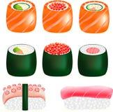 Geschmackvolles japanisches Lebensmittel der Sushi, Lizenzfreie Stockfotos