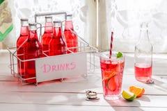 Geschmackvolles rotes Sommergetränk in der Flasche mit Zitrusfrucht stockfotos