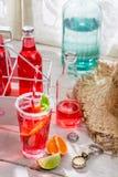 Geschmackvolles rotes Sommergetränk mit Zitrusfrucht lizenzfreie stockfotografie
