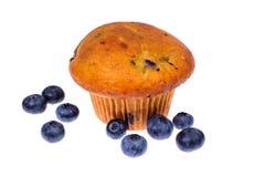 Geschmackvolles weiches Muffin mit Blaubeere auf weißem Hintergrund stockfoto