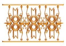 Geschmiedete dekorative Torverzierung lokalisiert auf weißem Hintergrund Stockbild