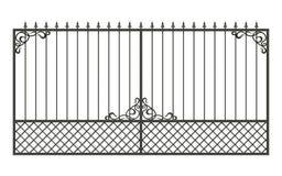 Geschmiedeter Zaun lokalisiert auf weißem Hintergrund Stock Abbildung
