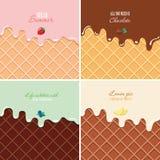 Geschmolzene Creme auf Oblatenhintergrund stellte - Erdbeere, Schokolade, Blaubeere, Zitrone ein Eiscreme-Makrobeschaffenheit mit stock abbildung