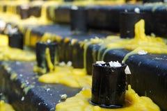 Geschmolzene Kerzen Stockfoto