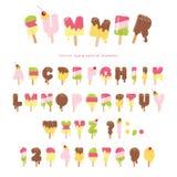 Geschmolzener Guss der Eiscreme Bunte Buchstaben und Zahlen des Eises am Stiel können für Sommerdesign verwendet werden Auf Weiß Lizenzfreies Stockfoto