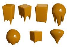 Geschmolzener Karamellriegel Flüssiges Karamell läuft unten Karamellsüßigkeiten lokalisiert auf weißem Hintergrund Abbildung 3D Lizenzfreie Stockfotos