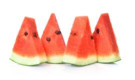Geschnitten von der Wassermelone lokalisiert auf weißem Hintergrund Stockfotografie