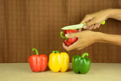 Geschnittene †‹â€ ‹Gemüsepaprikas stockfotografie