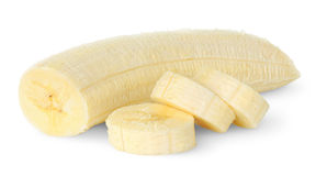 Geschnittene Banane Stockfoto