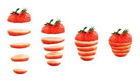 Geschnittene Erdbeere lokalisiert Lizenzfreies Stockfoto