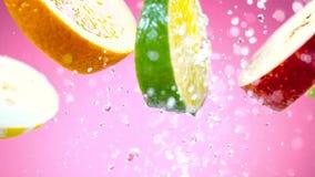 Geschnittene Früchte, die in Wasserspritzen fallen lizenzfreies stockfoto