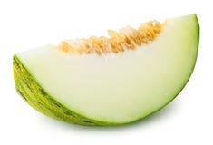 Geschnittene grüne Melone lokalisiert auf weißem Hintergrund Lizenzfreies Stockbild