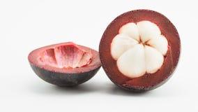 Geschnittene Mangostanfrucht Stockfotos