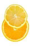 Geschnittene Orange u. Zitrone stockbild
