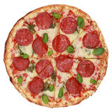 Geschnittene Pepperoni-Pizza Stockfoto