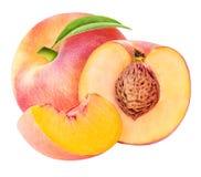 Geschnittene Sammlung des Pfirsiches Frucht lokalisiert auf weißem Hintergrund Stockfotografie