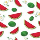 Geschnittene Wassermelone mit Rebe-nahtloser Fliese Stockfotos