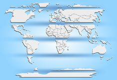 Geschnittene weiße Kontinente der Weltkarte auf Blau Lizenzfreie Stockfotografie