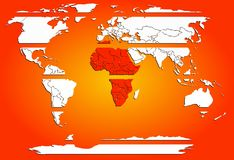 Geschnittene weiße Kontinente der Weltkarte mit rotem warmem Afrika Lizenzfreies Stockfoto
