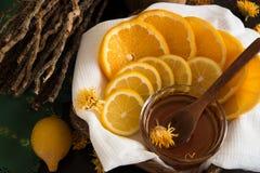 Geschnittene Zitrone und Orange Stockbild