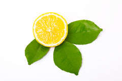 Geschnittene Zitrone und Zitroneblätter Lizenzfreie Stockfotos