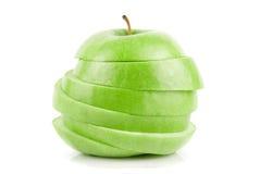 Geschnittener grüner Apfel Stockbild