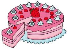 Geschnittener rosa Kuchen Stockbilder