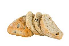 Geschnittenes Ciabatta-Brot auf weißem Hintergrund Lizenzfreies Stockbild