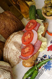 Geschnittenes Fleisch und Tomaten lizenzfreie stockfotos