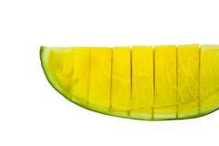 Geschnittenes gelbes Wassermelonenisolat Lizenzfreie Stockfotografie